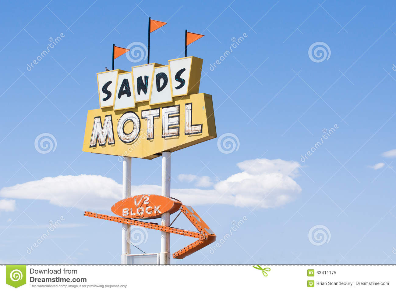 Sands Motel And Sign Historic Route 66 At Grants New Mexico, USA.