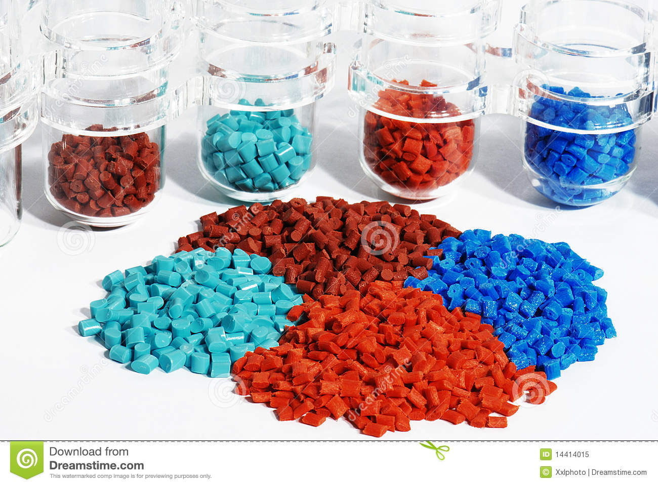 Dyed Plastic Granulate In Test Glasses Royalty Free Stock Photo.