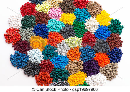 Stock Photography of dyed plastic granulate resins.