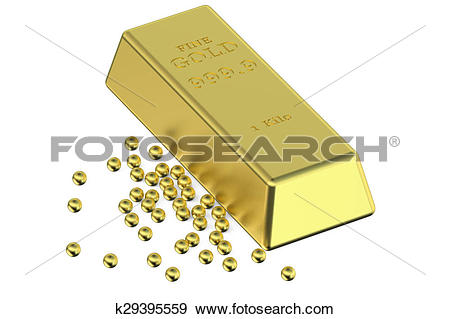 Stock Illustration of Gold ingot and granules k29395559.