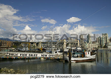 Stock Photograph of Fisherman's Wharf, Granville Island Vancouver.