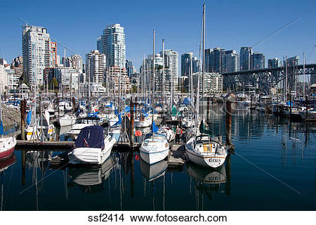 Stock Photo of View of Yachts in the harbour on False Creek.