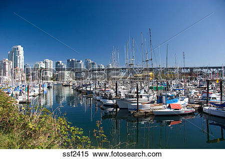 Stock Image of View of Yachts in the harbour by the Granville.