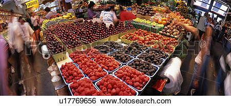 Stock Images of Fruit Stand Panorama, Granville Island, Vancouver.