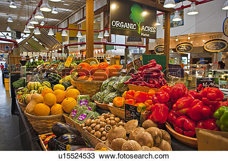 Stock Photo of Produce on display on an organic produce market.