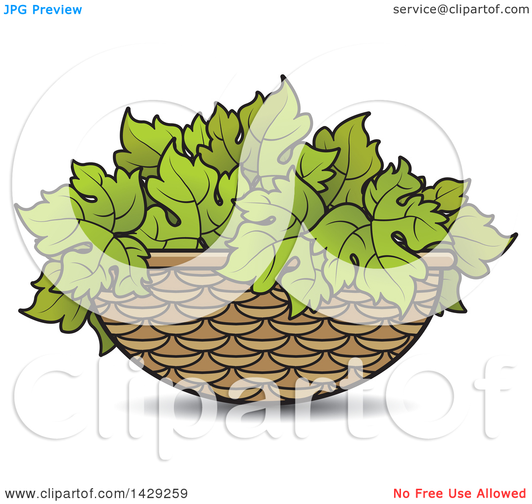 Clipart of a Basket of Grape Leaves.