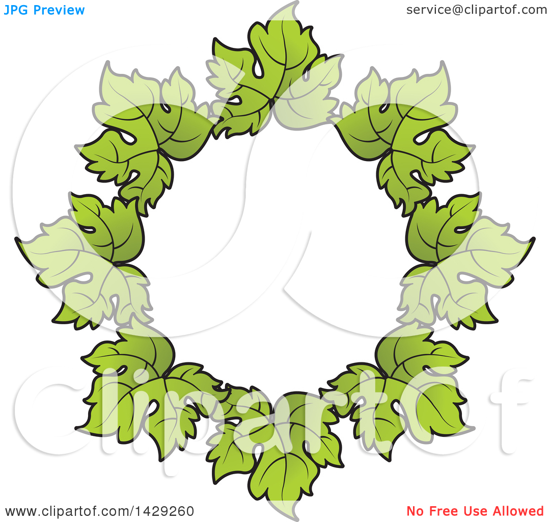 Clipart of a Wreath of Grape Leaves.