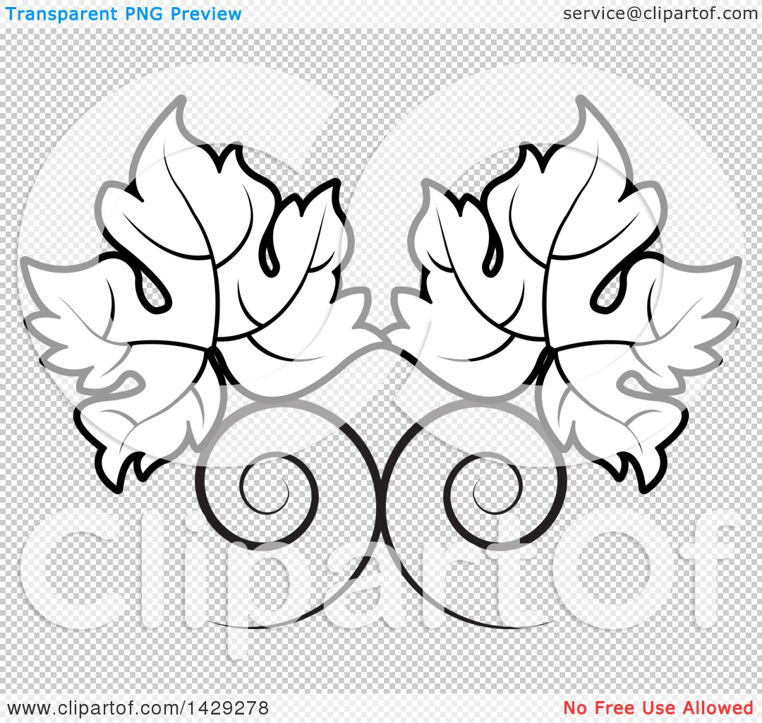 Clipart of a Black and White Swirls and Grape Leaves.