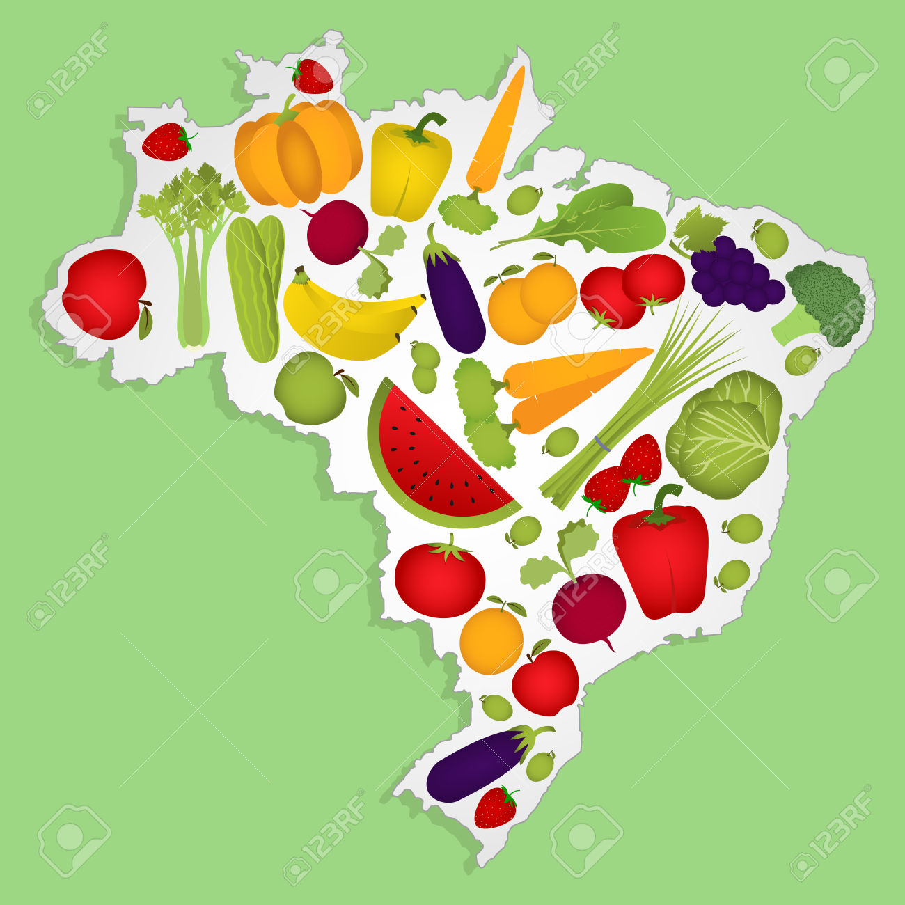 Map Of Brazil Full Of Fruits And Vegetables (tomato , Apple.