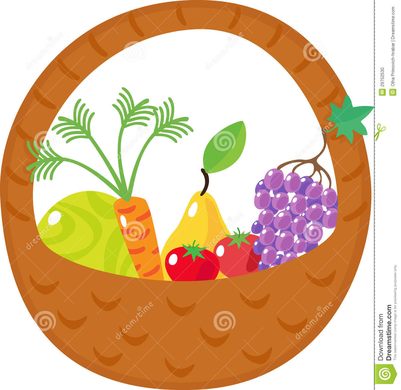 Basket With Cabbage, Carrots, Grapes, Pears, Tomat Stock Photo.