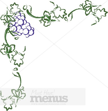 Wine and Grape Border Clipart.