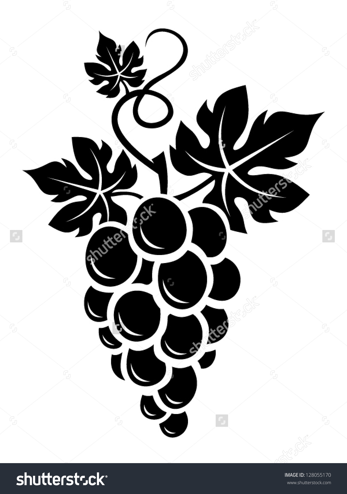 Black Silhouette Grapes Vector Illustration Stock Vector 128055170.