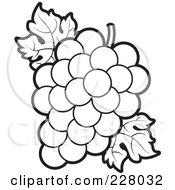 Clipart Black And White Grape Leaf Icon Button.