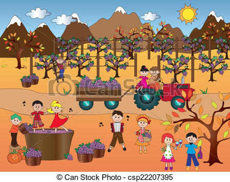 Stock Illustration of grape harvest.