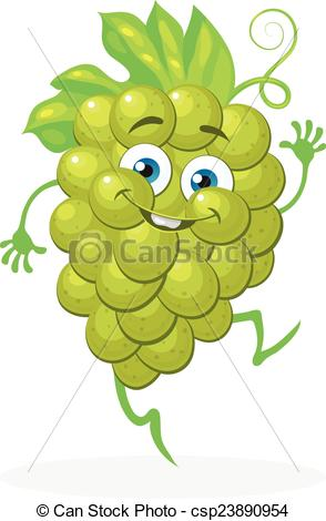 Clipart Vector of Cute grapes on a white background. Vector.