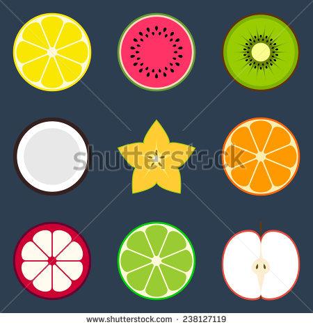 Fruit Cross Sections Starfruit Grapefruit Lemon Stock Vector.