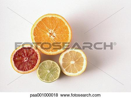 Pictures of Cross sections of orange, blood orange, lemon, lime.