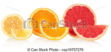 Picture of Lemon, orange and grapefruit in a cross.