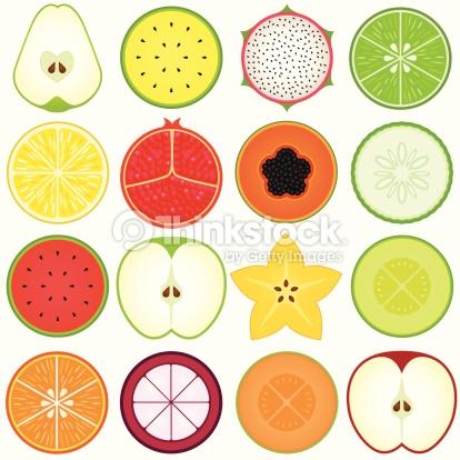 Fresh Cute Vegetable Fruit Cut In Half Set4 Vector Art.