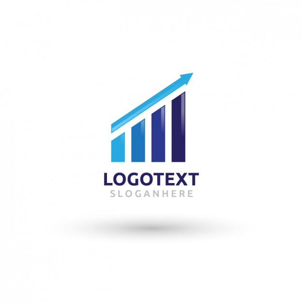 Growth graph logo in blue tones Vector.