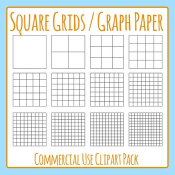 Square Grid / Graph Paper Commercial Use Clip Art Pack.