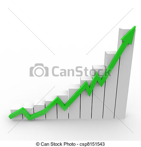 Drawings of Business graph with going up green arrow csp8151543.