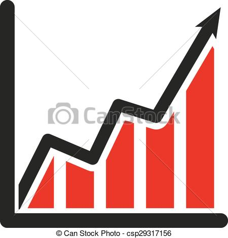 Clipart Vector of The growing graph icon. Growth and up symbol.