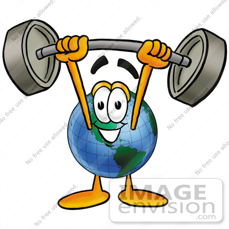 Clip Art Graphic of a World Globe Cartoon Character Holding a.