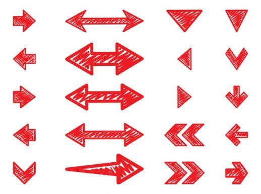 Hand Drawn Arrows Set Vector.