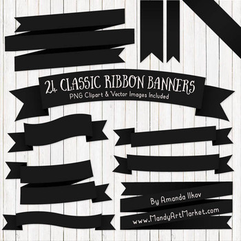 Classic Ribbon Banner Clipart in Black.