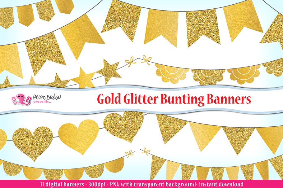 Gold Glitter Bunting Banner clipart.