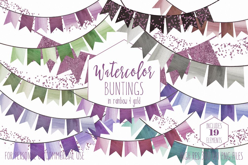 WATERCOLOR BUNTING BANNERS Clipart Watercolour Flags Greenery & Rose Pink  Confetti Wedding Party Invitation Graphics.