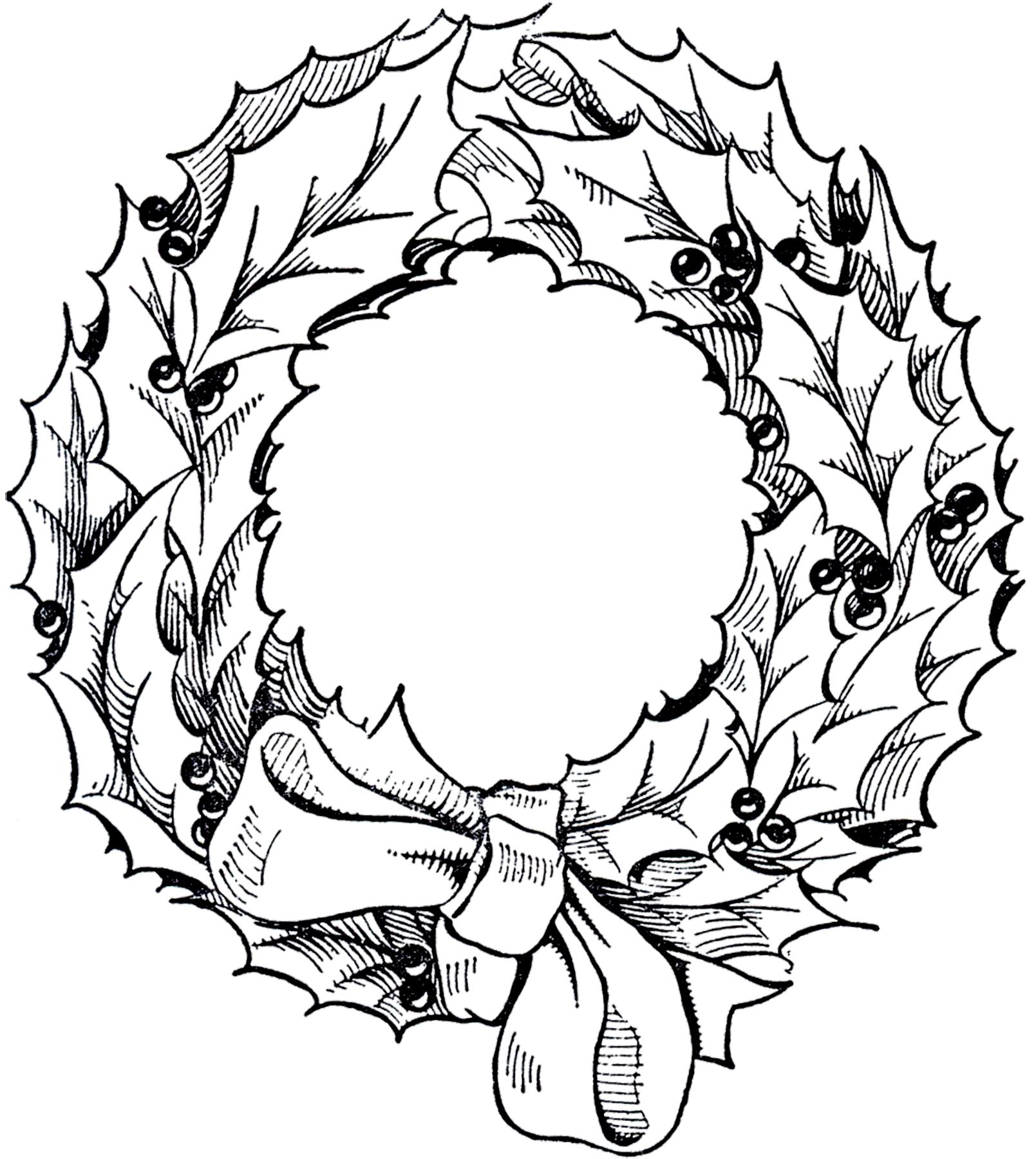 Vintage Christmas Wreath Graphic.