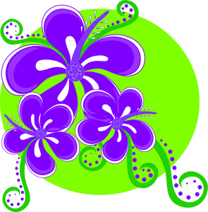 Tropical Flowers Clipart Image.