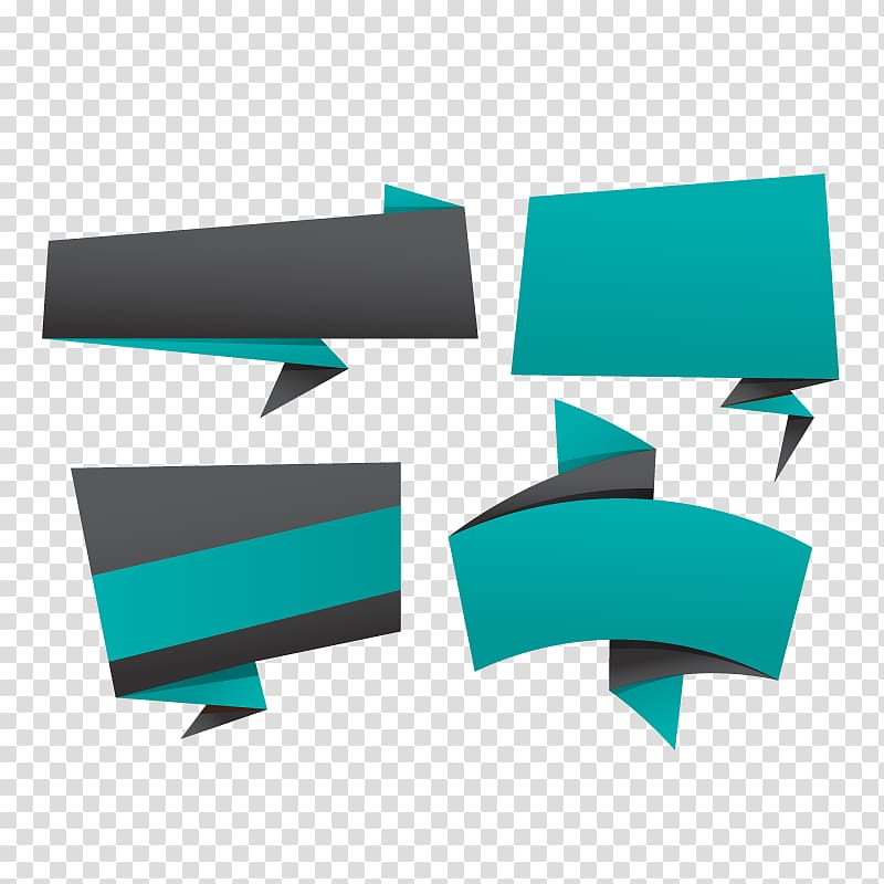 Banners, green and gray abstract transparent background PNG.