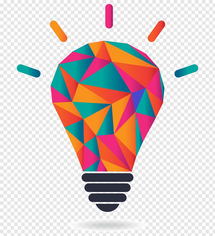 Multicolored light bulb illustration, Graphic Designer Logo.