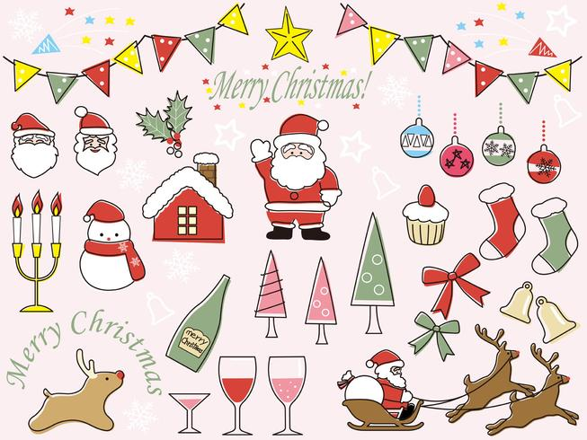Set of assorted Christmas graphic elements..