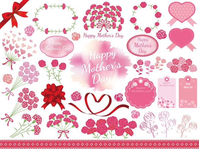 Set of assorted graphic elements for Mother\'s Day.