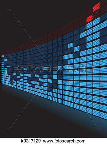Clip Art of Graphic equalizer in perspective k9317129.