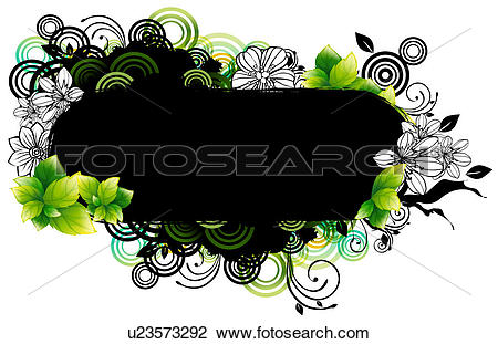 Clip Art of capsule shape with flora design u23573292.