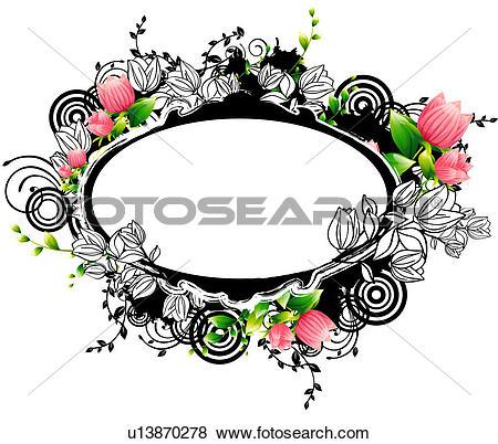 Stock Illustration of Oval Shape with flora design u13870278.