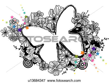 Stock Illustration of Butterfly shape with flora design u13684347.