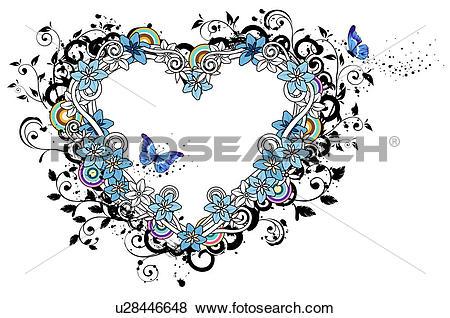 Stock Illustration of Heart shape with flora design u28446648.