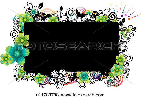 Stock Illustration of Rectangular frame with flora design.