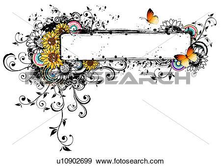 Stock Illustration of Rectangular frame with flora elements.