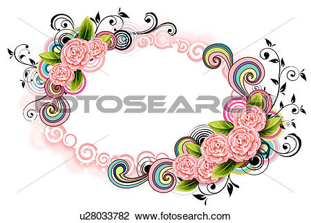 Clip Art of Oval Shape with flora elements u28033782.