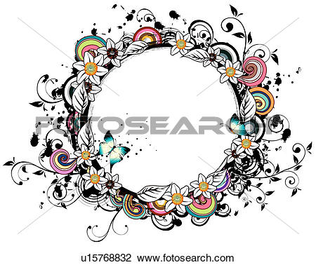 Clip Art of Oval Shape with flora elements u15768832.