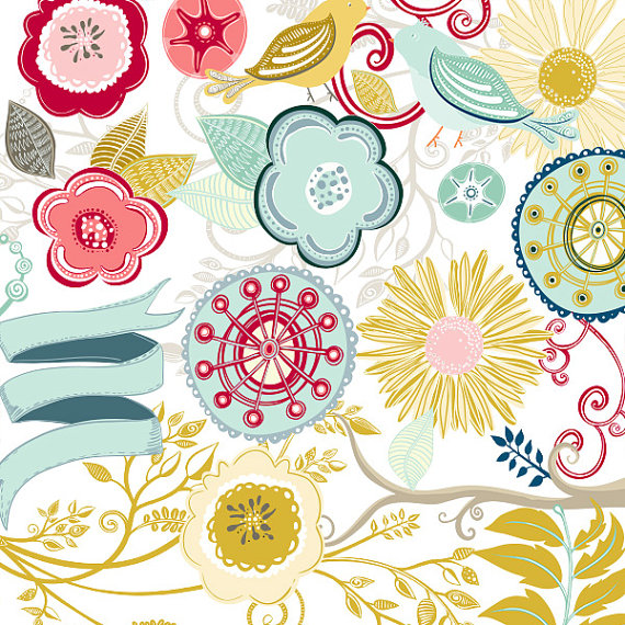Colourful Flower Clip Art, Floral Wreath Digital ClipArt, Bird.