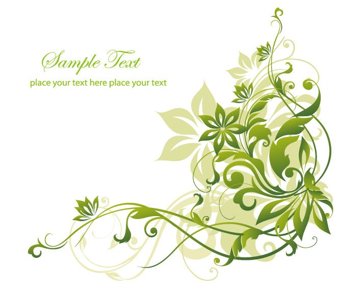 Abstract Green Floral Background Vector Graphic Art.