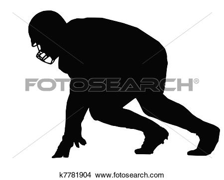 Clipart of Silhouette American Football Player Scrimmage k7781904.